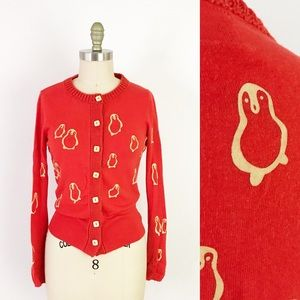 Anthropologie Red Penguin Holiday Cardigan Soft M